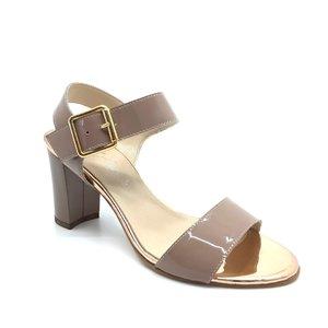 Sandale cu toc dama din piele naturala - C3 Nude Lac